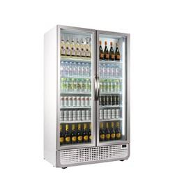 Husky 885 Litre PRO Mega Double Glass Door Display Fridge Chiller White 8 Shelves