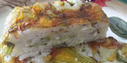 Plumcake di riso e fiori di zucca