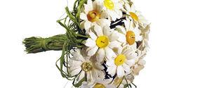 Bouquet di Margherite - Fiori di Carta con Bottoni Vintage Gialli e Carta di Riso
