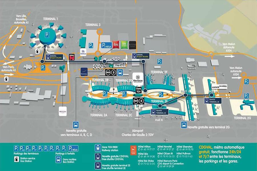 plan-acces-interieur-et-exterieur-aeroport-roissy-charles-de-gaulle