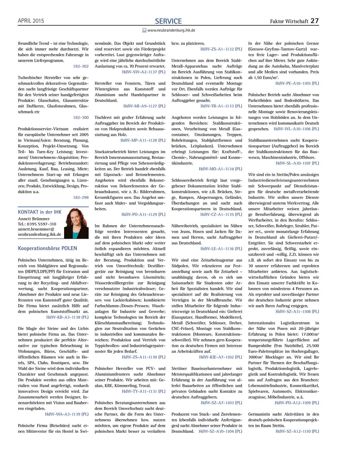 Faktor Wirtschaft 4 2015 Ihk Neubrandenburg