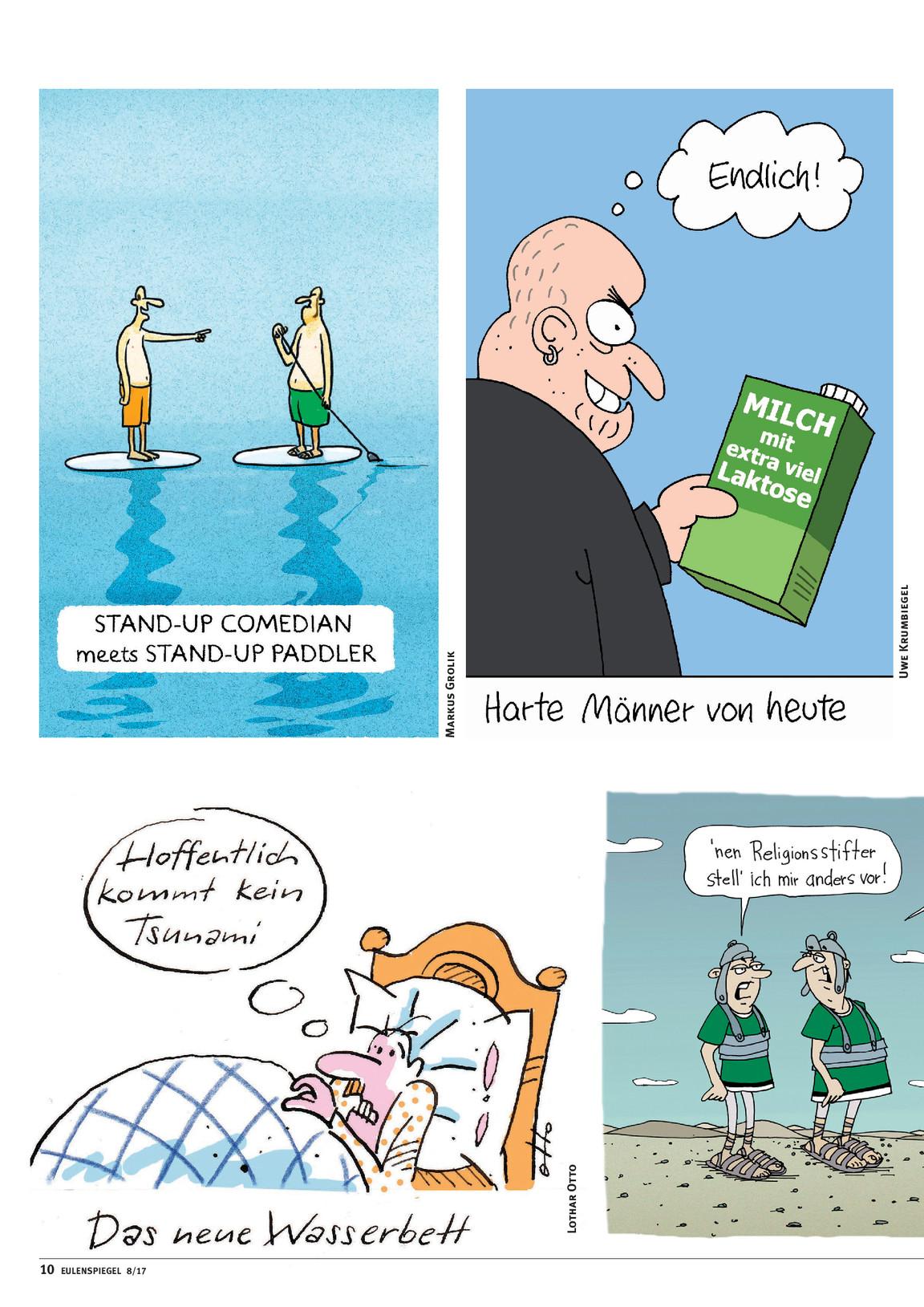 Wasserbett comic  Ausgabe 08/2017 | Eulenspiegel, das Satiremagazin