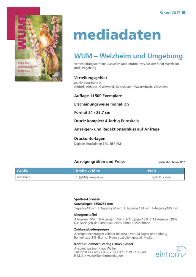 Mediadaten WUM 2017