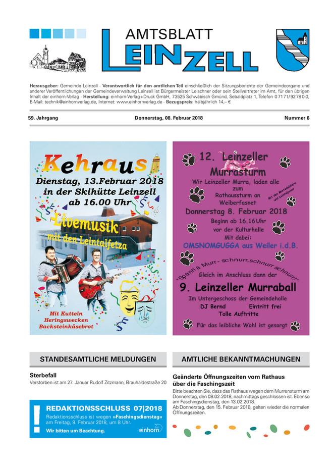 Amtsblatt Leinzell KW 06 2018