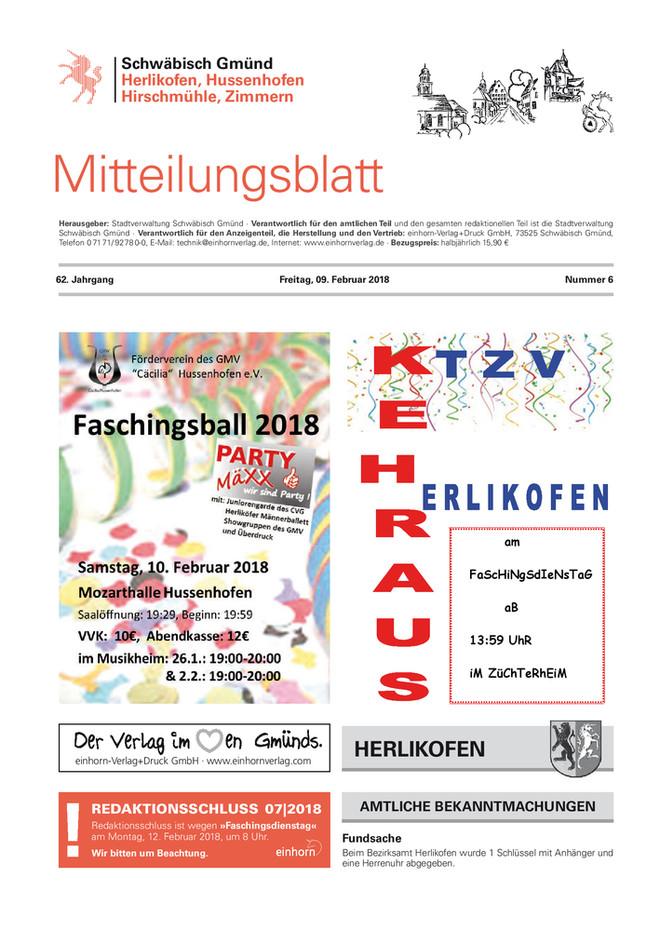 Mitteilungsblatt Herlikofen, Hussenhofen, Hirschmühle, Zimmern KW 06 2018