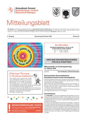 Mitteilungsblatt Großdeinbach, Lindach, Rehnenhof, Wetzgau KW 06 2018