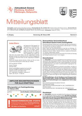 Mitteilungsblatt Straßdorf, Metlangen, Reitprechts und Rechberg KW 06 2018