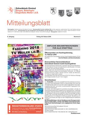 Mitteilungsblatt für Bargau, Bettringen, Degenfeld und Weiler i.d.B. KW 06 2018