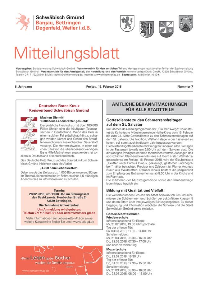 Mitteilungsblatt für Bargau, Bettringen, Degenfeld und Weiler i.d.B. KW 07 2018
