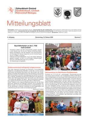 Mitteilungsblatt Großdeinbach, Lindach, Rehnenhof, Wetzgau KW 07 2018