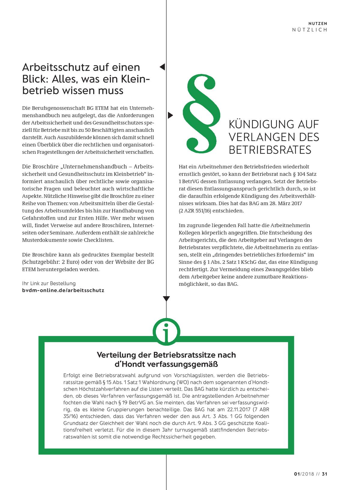 Nutzen Ausgabe 012018 Vdmno
