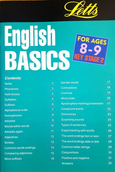 Leap Ahead English Basics 8-9 Contents Page
