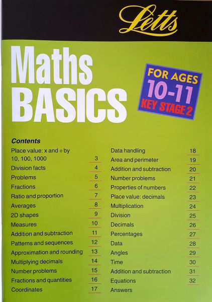 Leap Ahead Maths Basics 10 -11 Contents Page