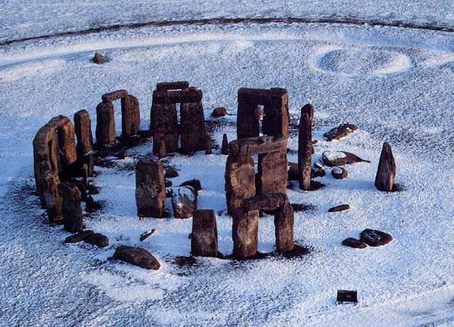 Stonehenge Winter Close Aerial View