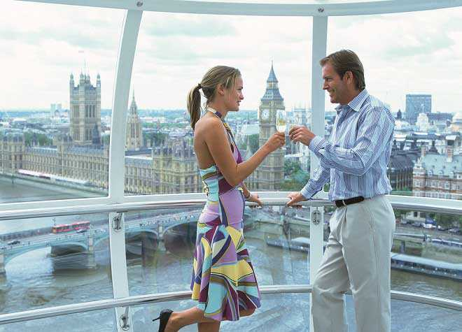 London Eye Couple Champagne