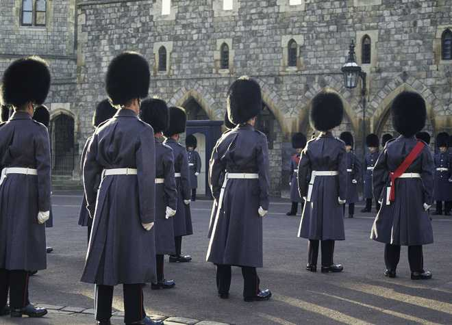 Guards on parade  at Windsor CaStle