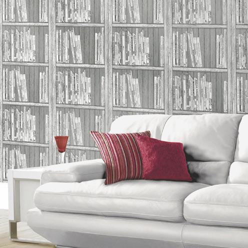 Bookcase wallpaper b q wall ppx for B q bedroom wallpaper designs