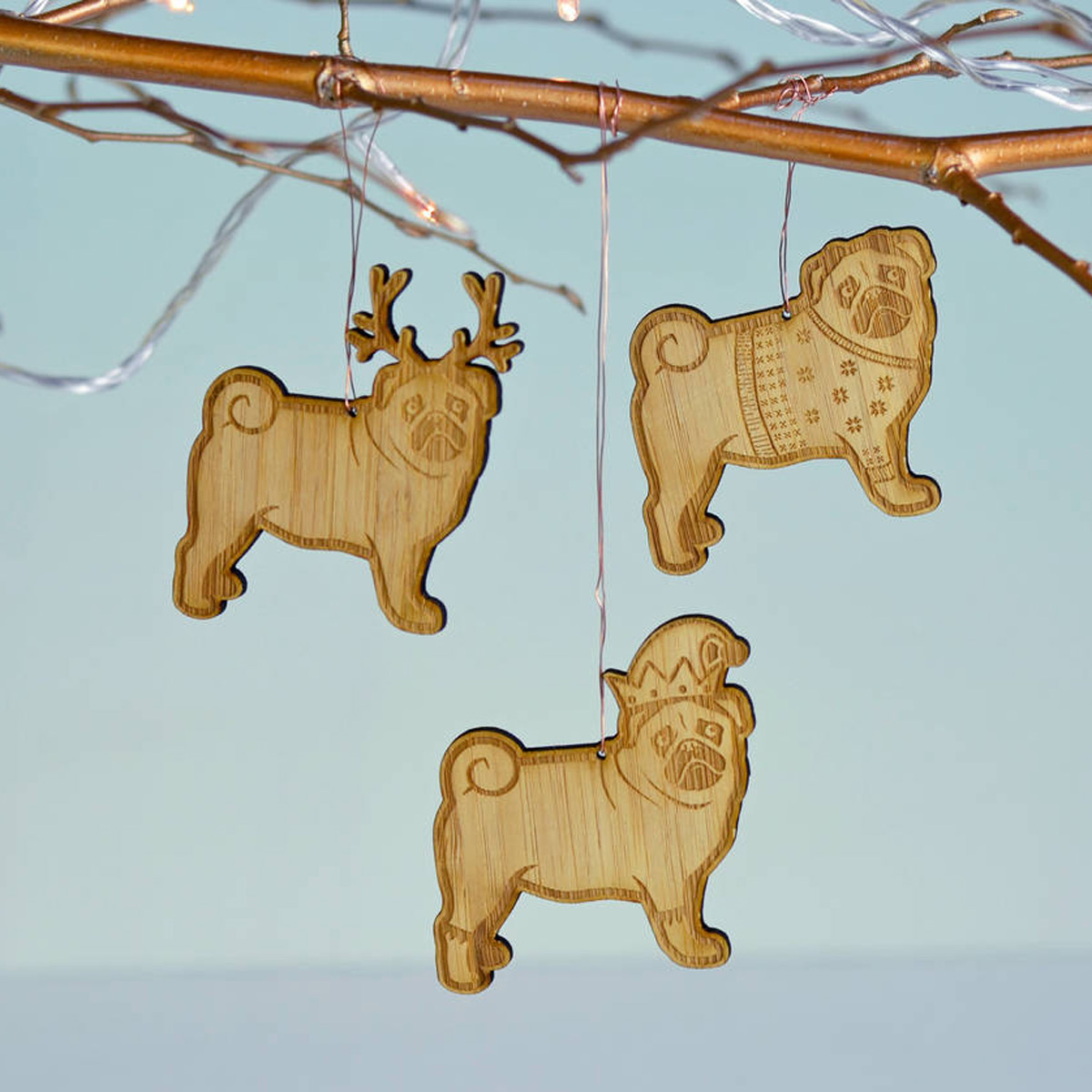 Pug Christmas decorations, £5.45, Not on the High Street