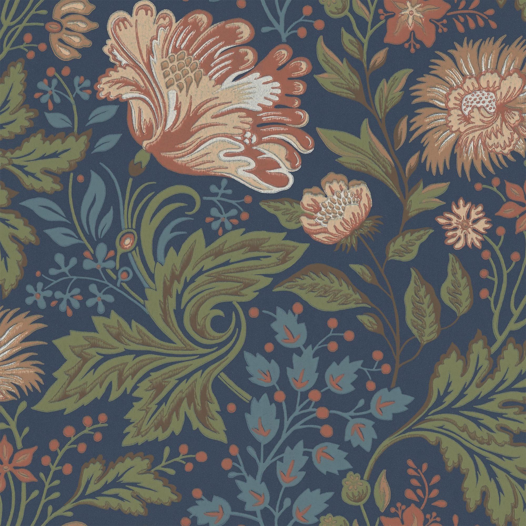 Ava Dark Blue Wallpaper Brunnsnas Sandberg