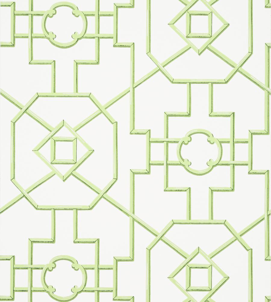 Bamboo Lattice Green Wallpaper Enchantment Thibaut