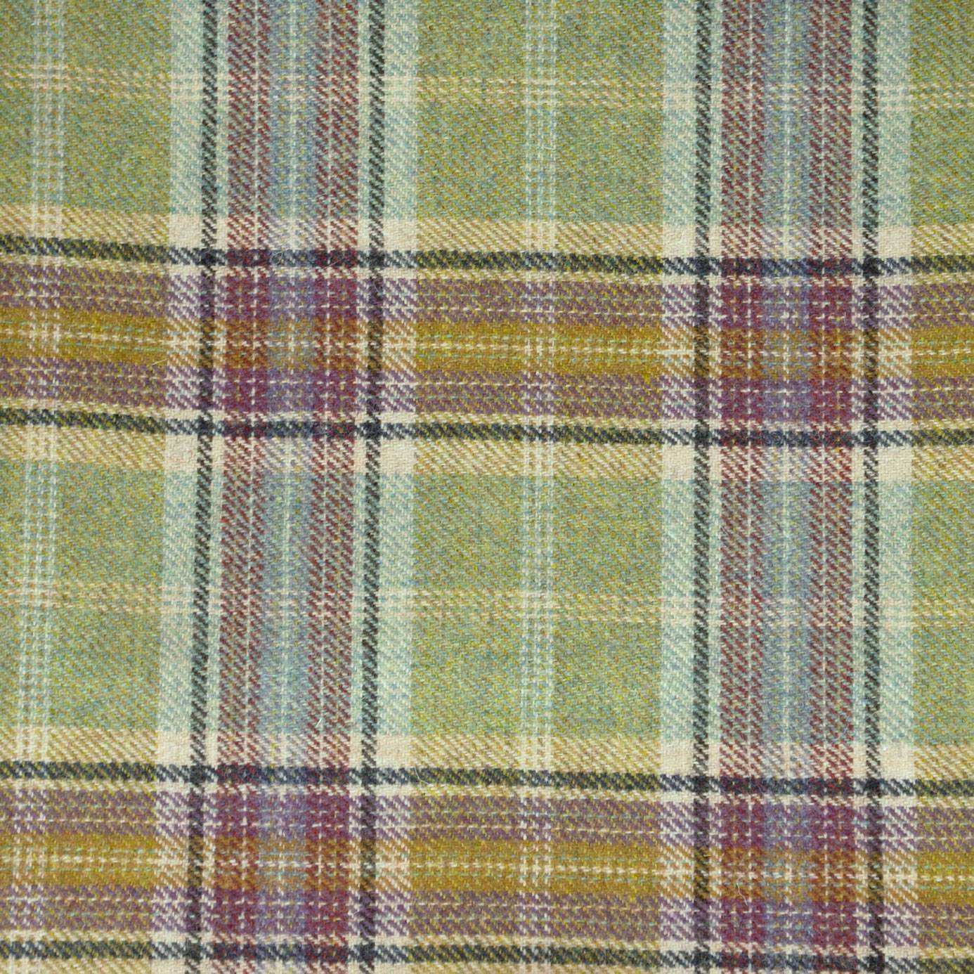Balmoral Olivine Fabric Highland Wool Chess Designs