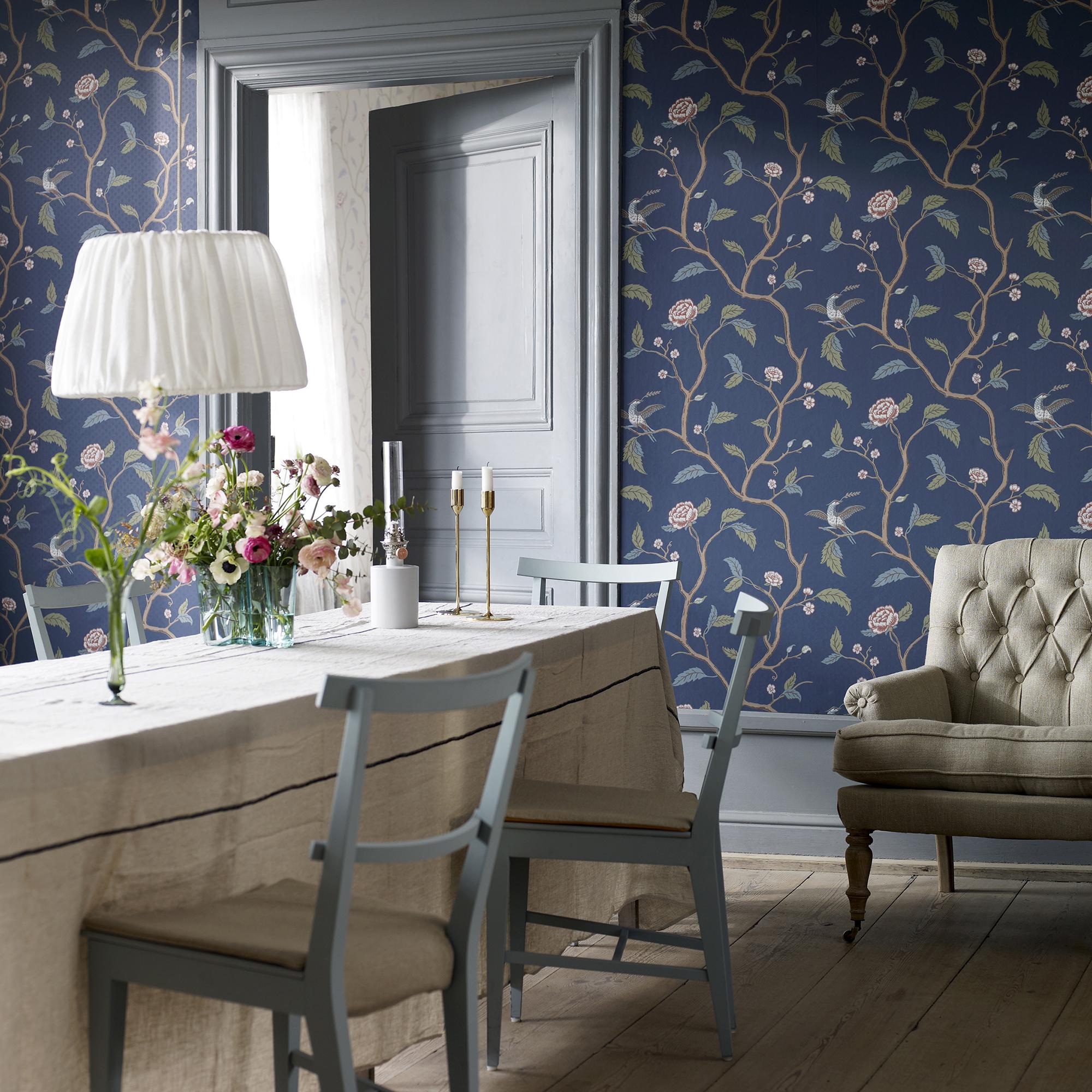 Marianne Dark Blue Wallpaper Brunnsnas Sandberg