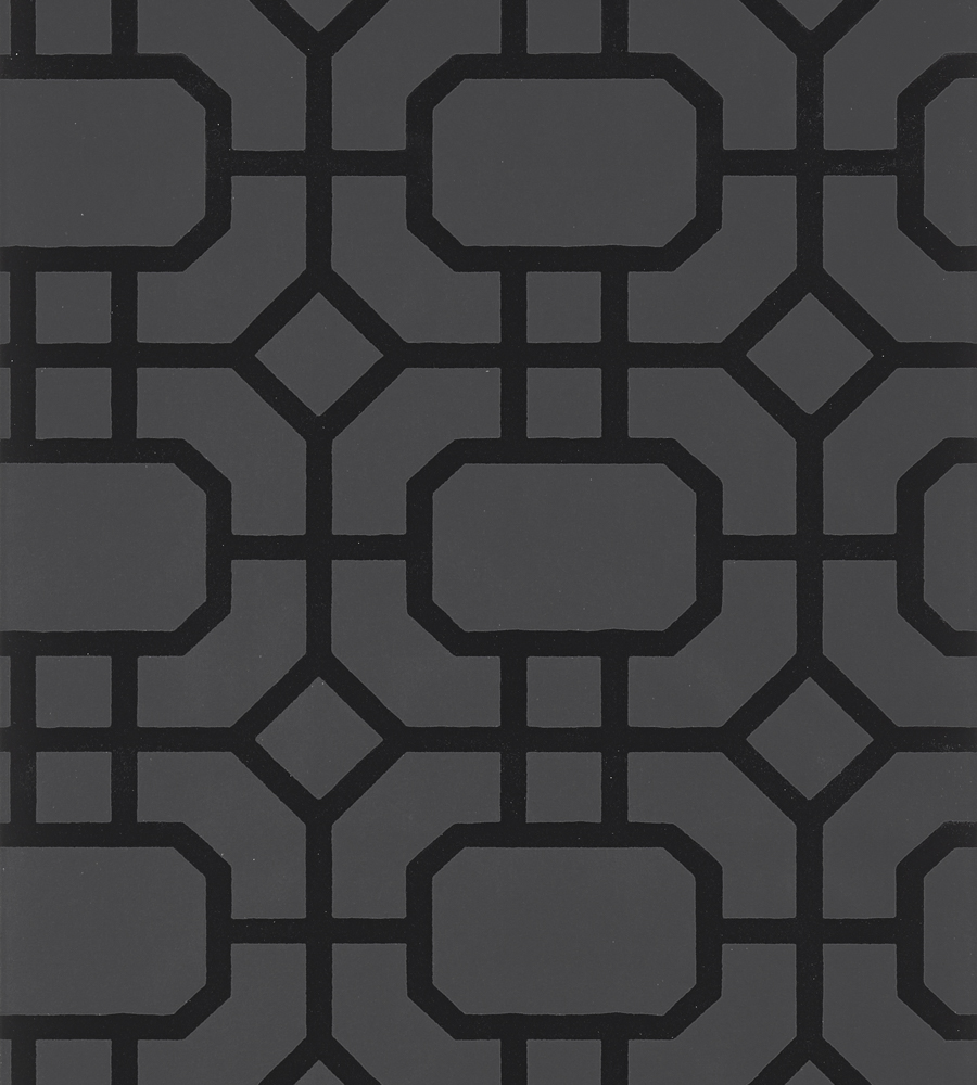 Portier Flock Black On Charcoal Wallpaper Geometric