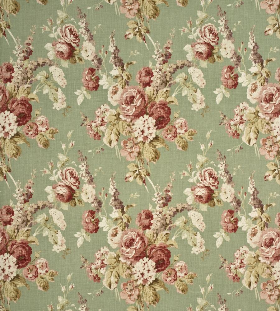 Vintage Floral Coral Sage Fabric Country Weekend