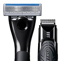 En ende med barberblad og en ende med trimmer
