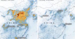 Calo dell'inquinamento in Cina: prima della quarantena a sx, durante la quarantena a dx