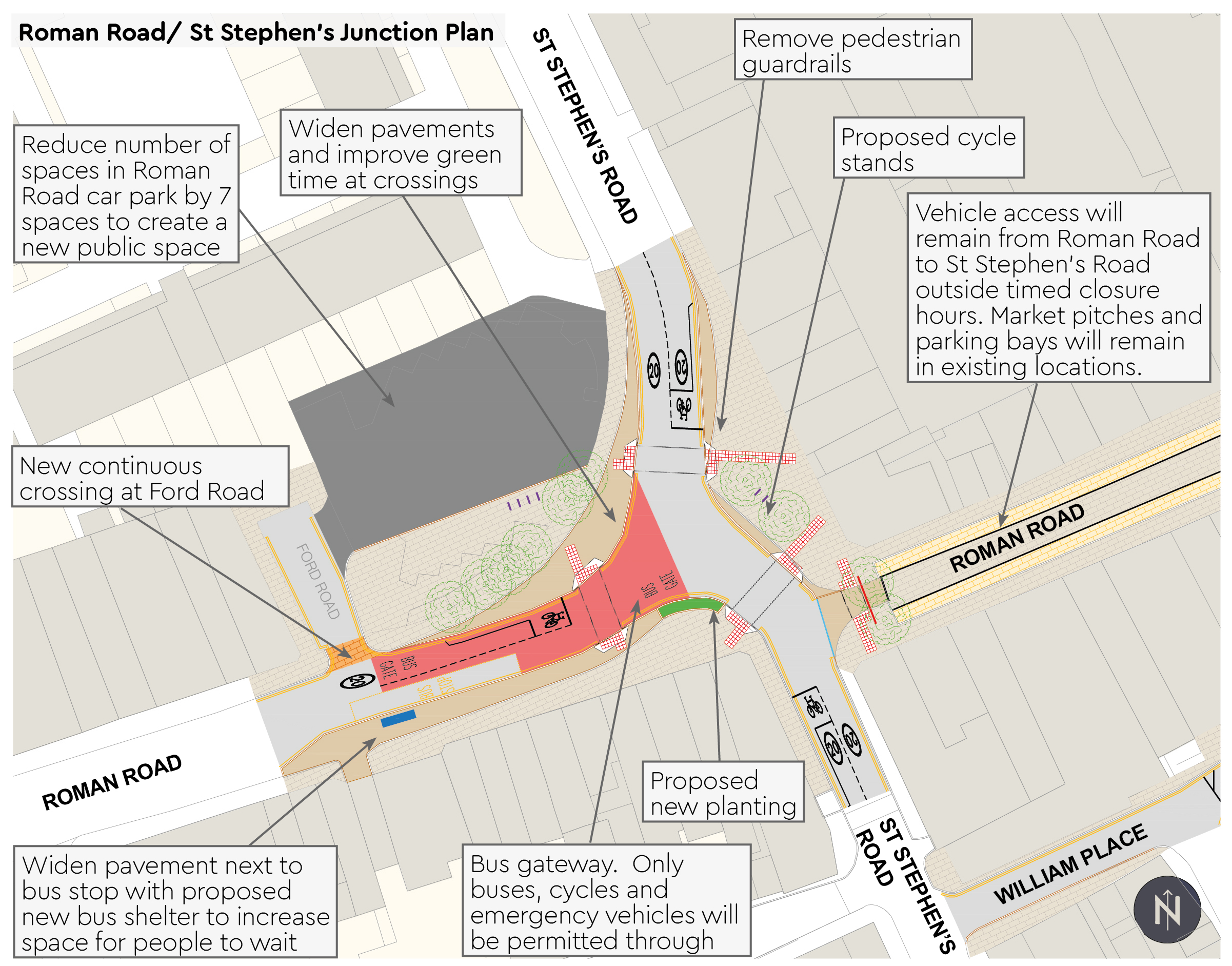 Roman Road and St Stephen's Junction Plan - Reduce number of spaces in Roman Road car park - New continuous crossings at Ford Road - Proposed cycle stands at junction
