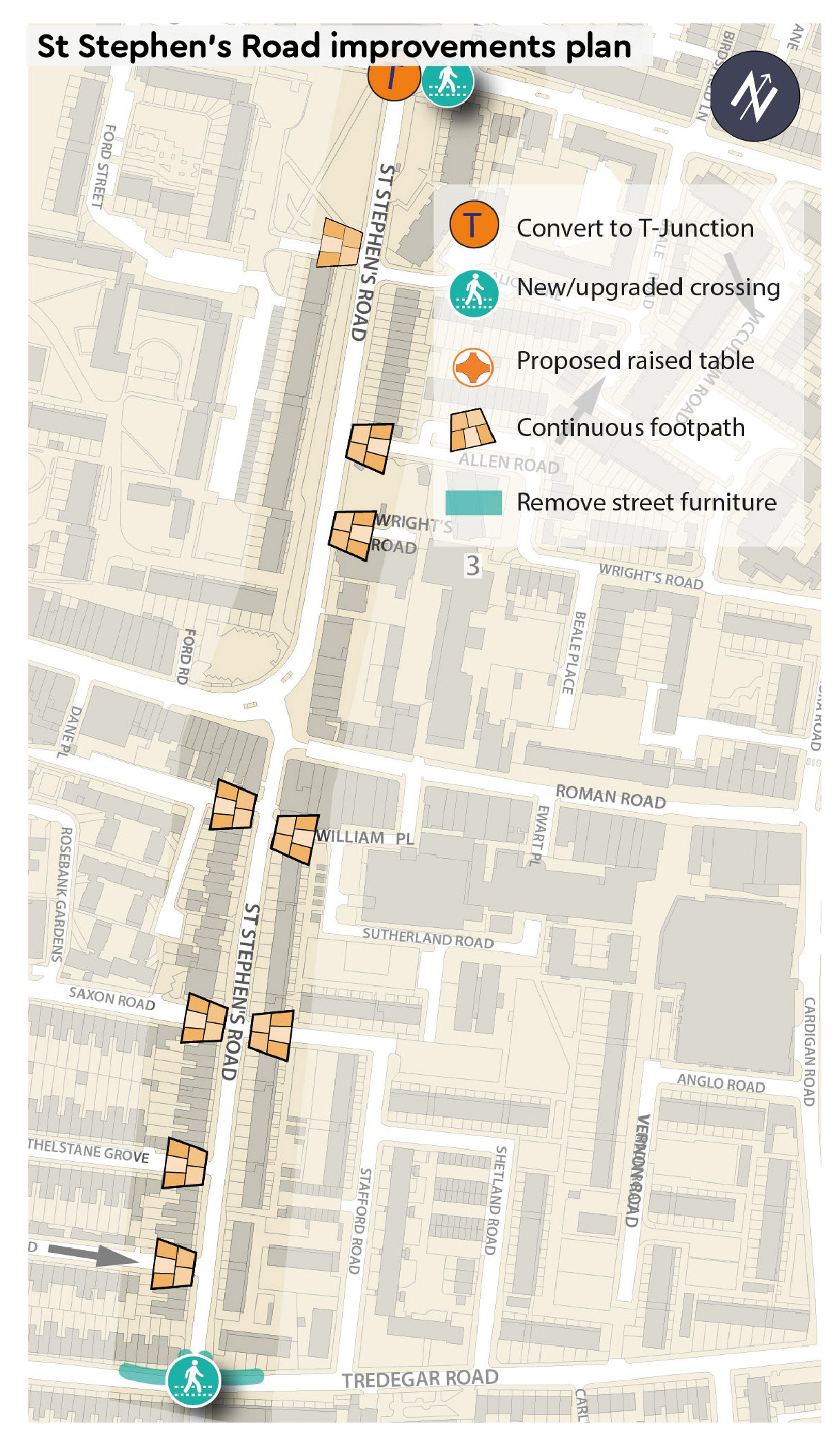 St Stephen's Road improvements plan - Continuous pavements along side streets from St Stephen's Road