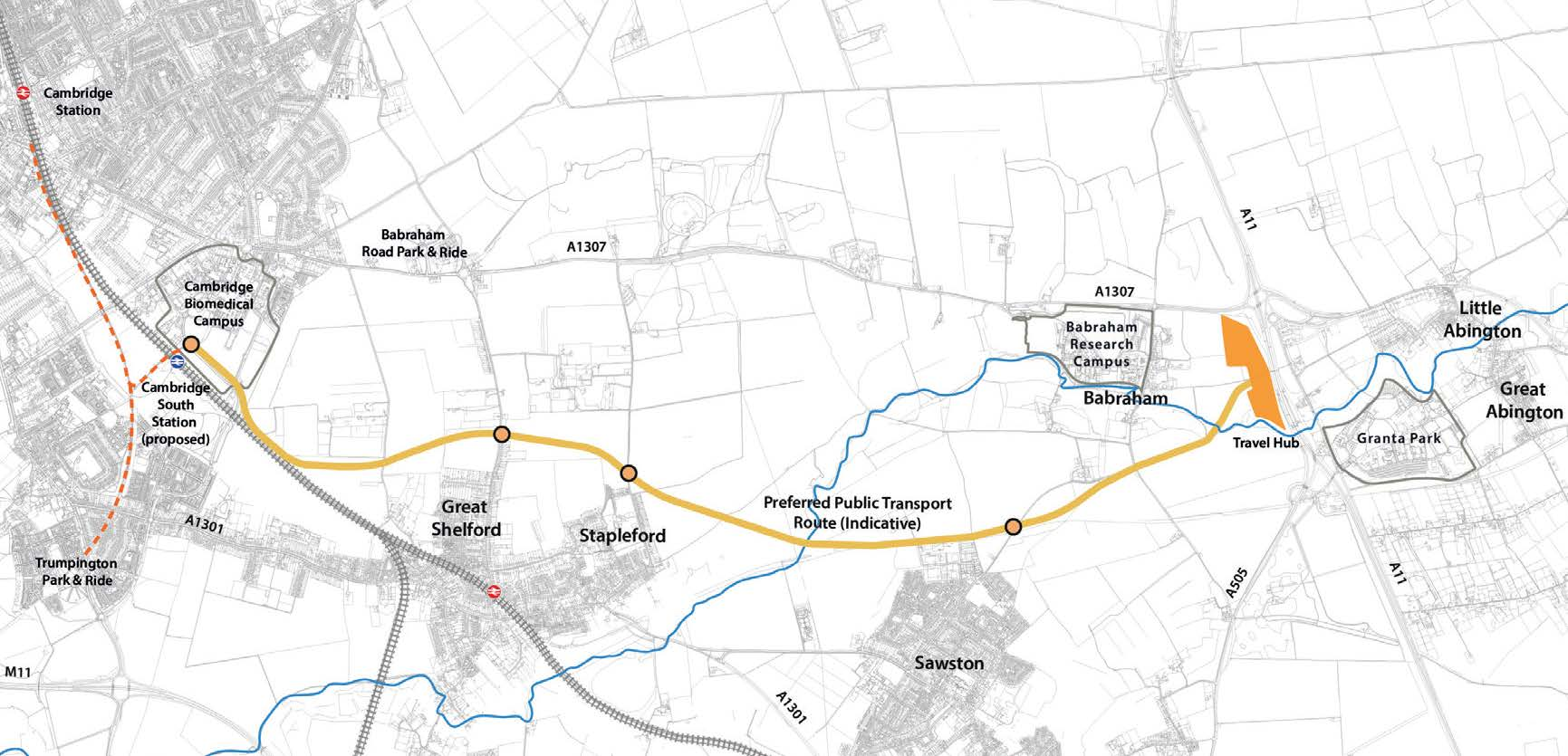 A map showing the proposed alignment for the off road public transport route, from the travel hub, south of Babraham, touching on the north of Sawston, the north of Stapleford, the north of Great Shelford, and meeting up with the planned Cambridge South rail station at the Cambridge Biomedical Campus, near Addenbrookes Hospital