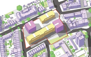 2.	Illustration sketch-up showing mid-range density development comprising three linear blocks and two villa blocks within wider townscape