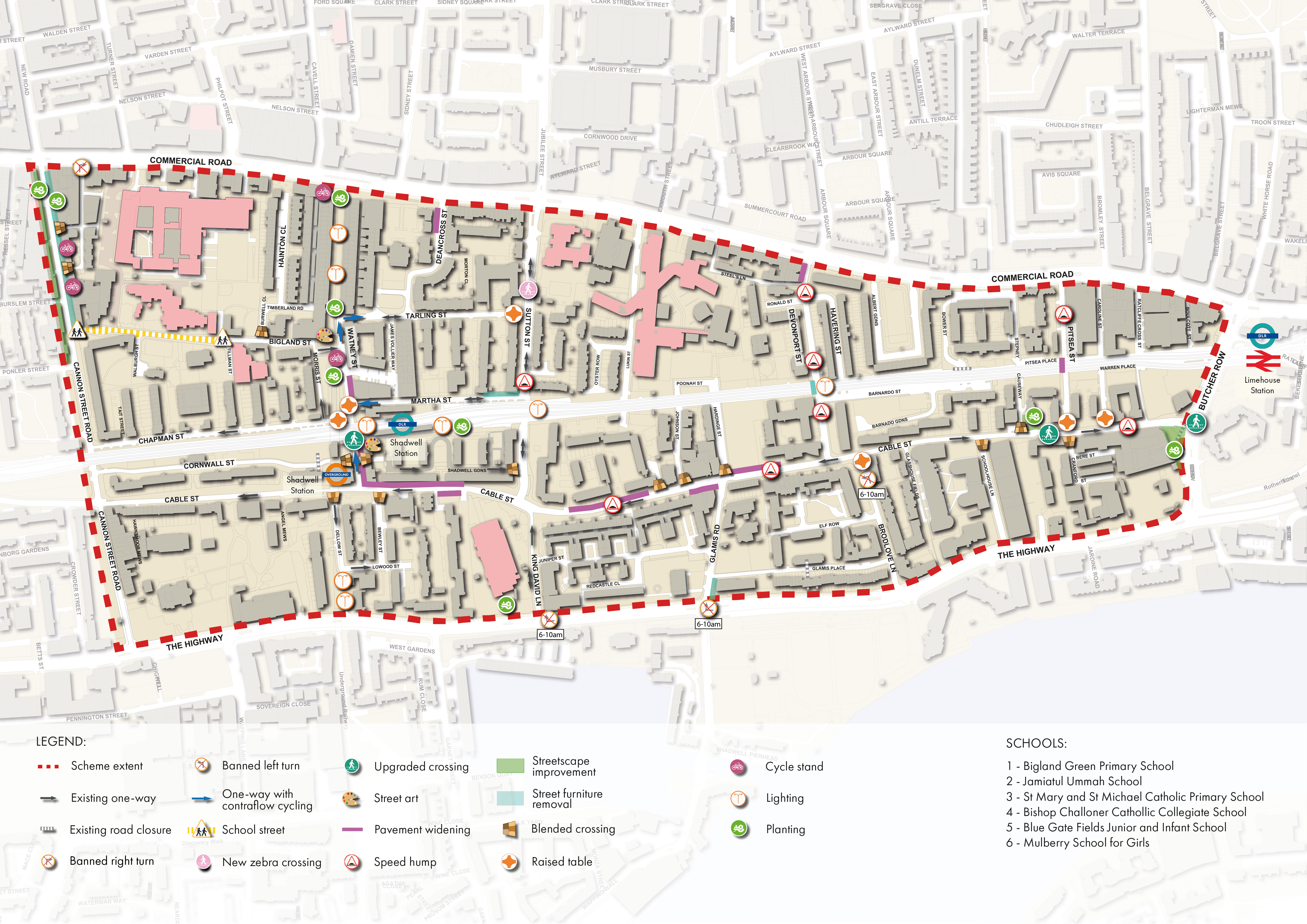 An Overview map of the Shadwell proposals