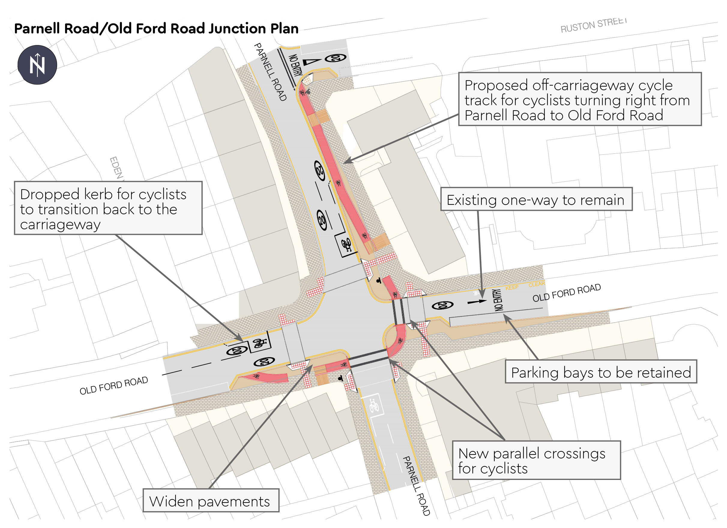 Parnell Road and Old Ford Road Junction Plan - Dropped kerb for cyclists back to carriageway on Old Ford Road - New parallel crossings for cyclists at junction