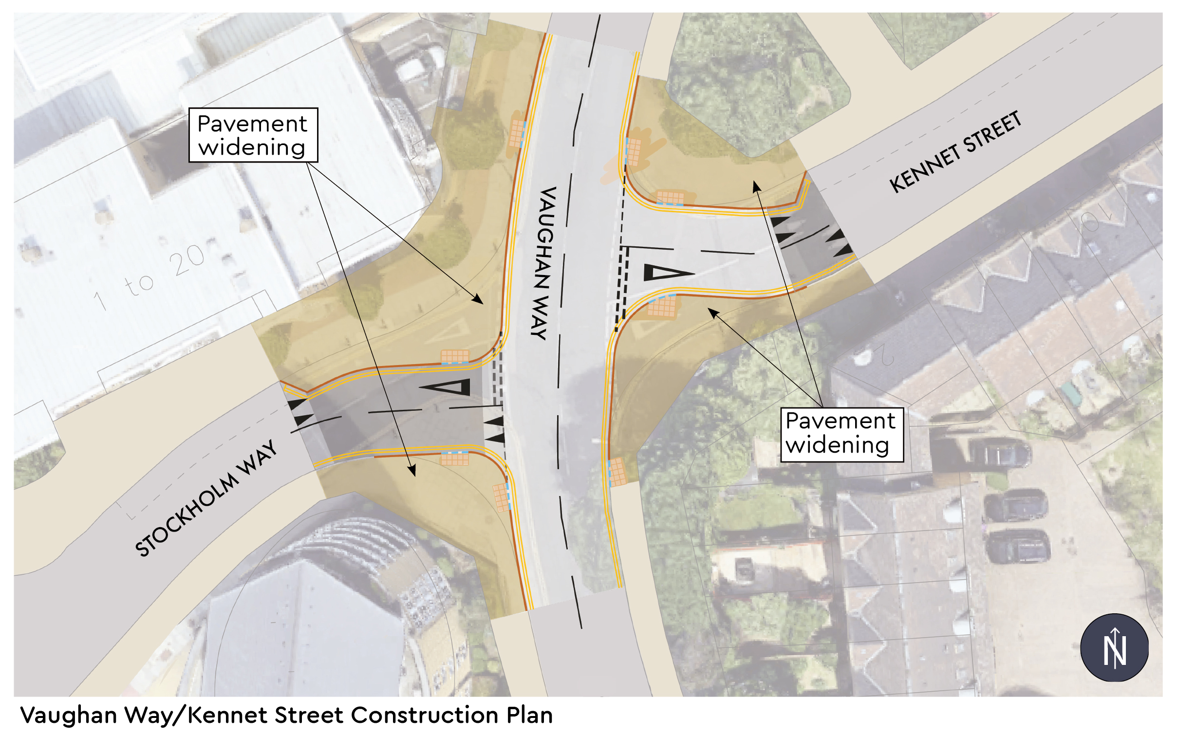 Pavement widening on Vaughan Way/Kennet Street junction