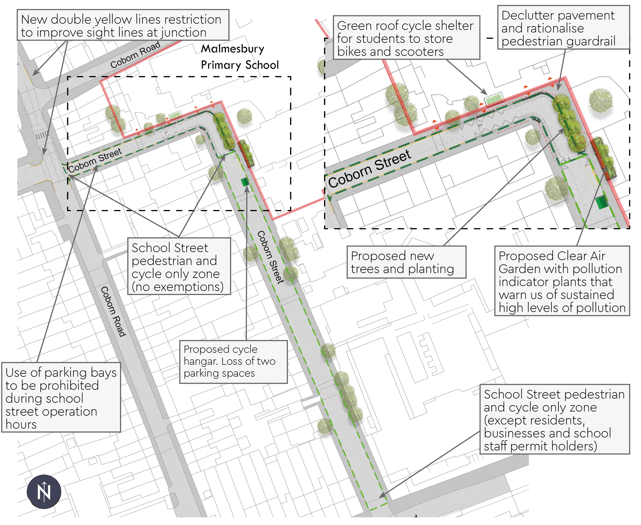 Malmesbury School Street Plan - School Street pedestrian and cycle only zone along Coborn Street (except residents, businesses and school staff permit holders) - Parking bays on Coborn Street prohibited during school street operation hours. - New trees and planting outside of Malmesbury Primary School - Green roof cycle shelter outside of Malmesbury Primary School