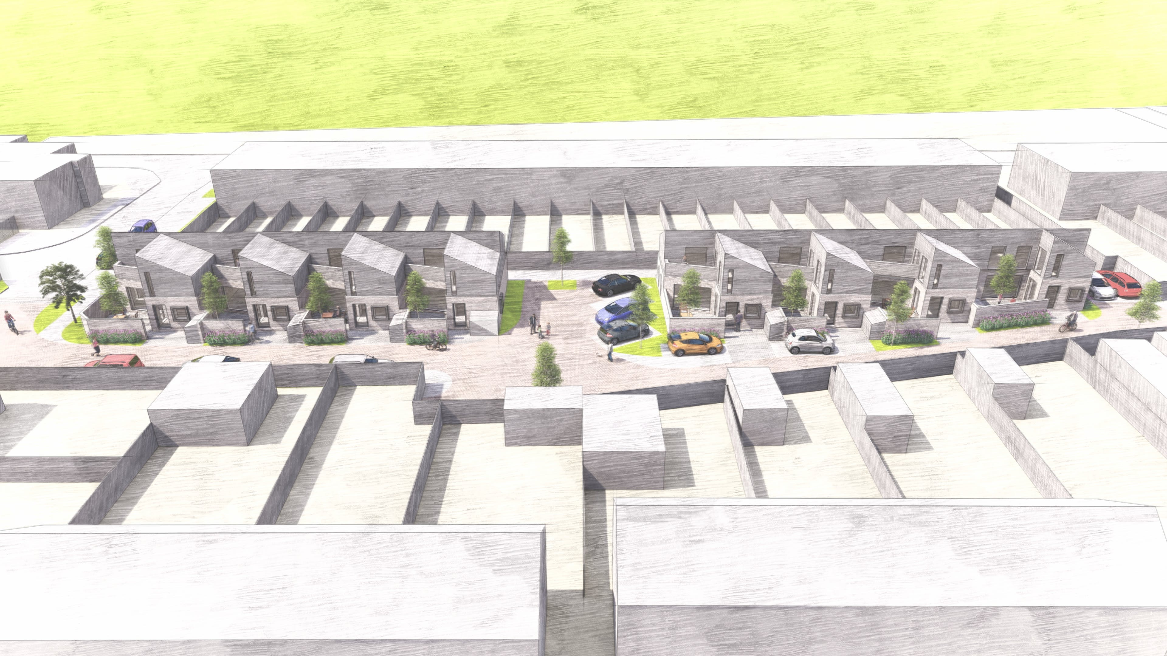 Aerial view of proposed development on Vigerons Way