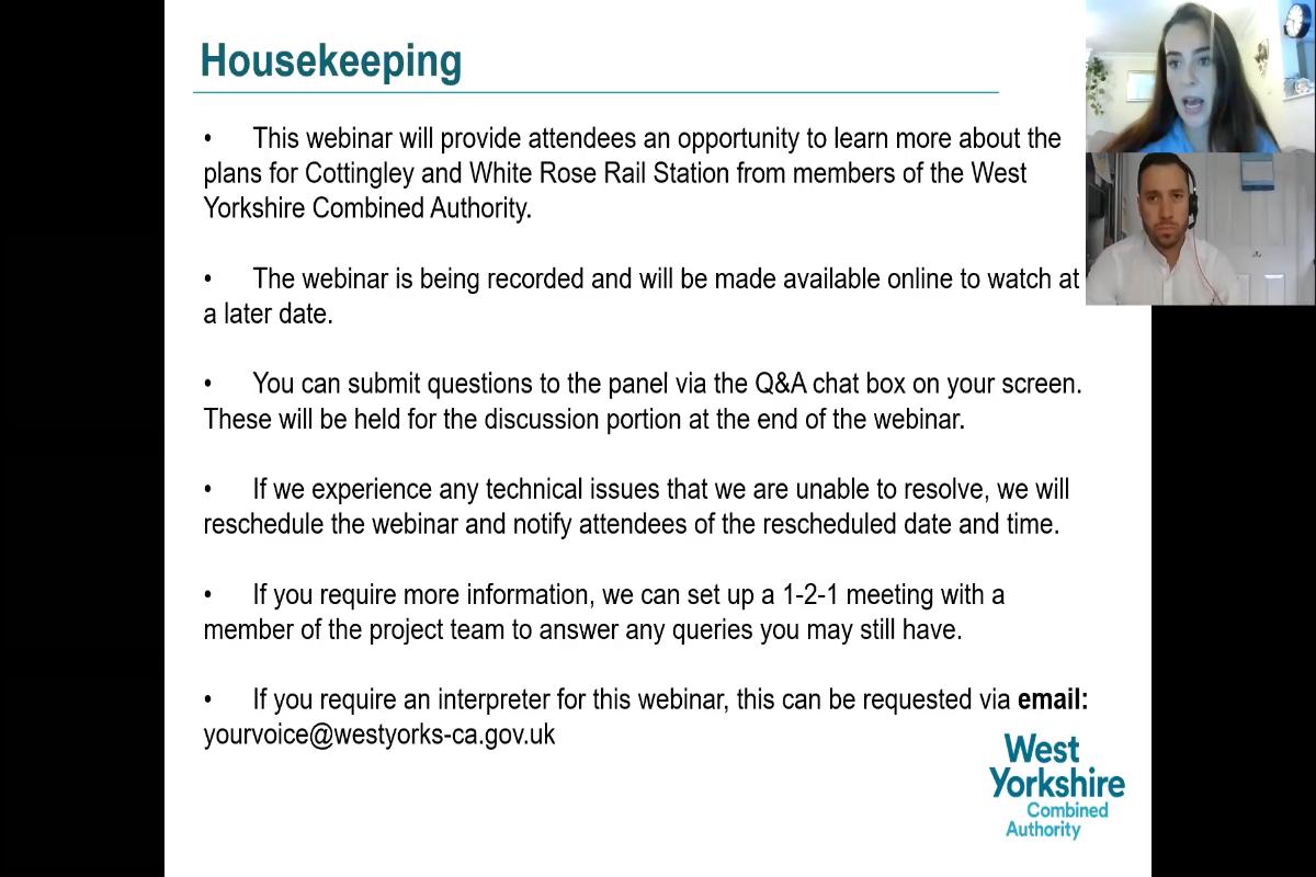Monday 9 August Public Webinar on Cottingley Rail Station