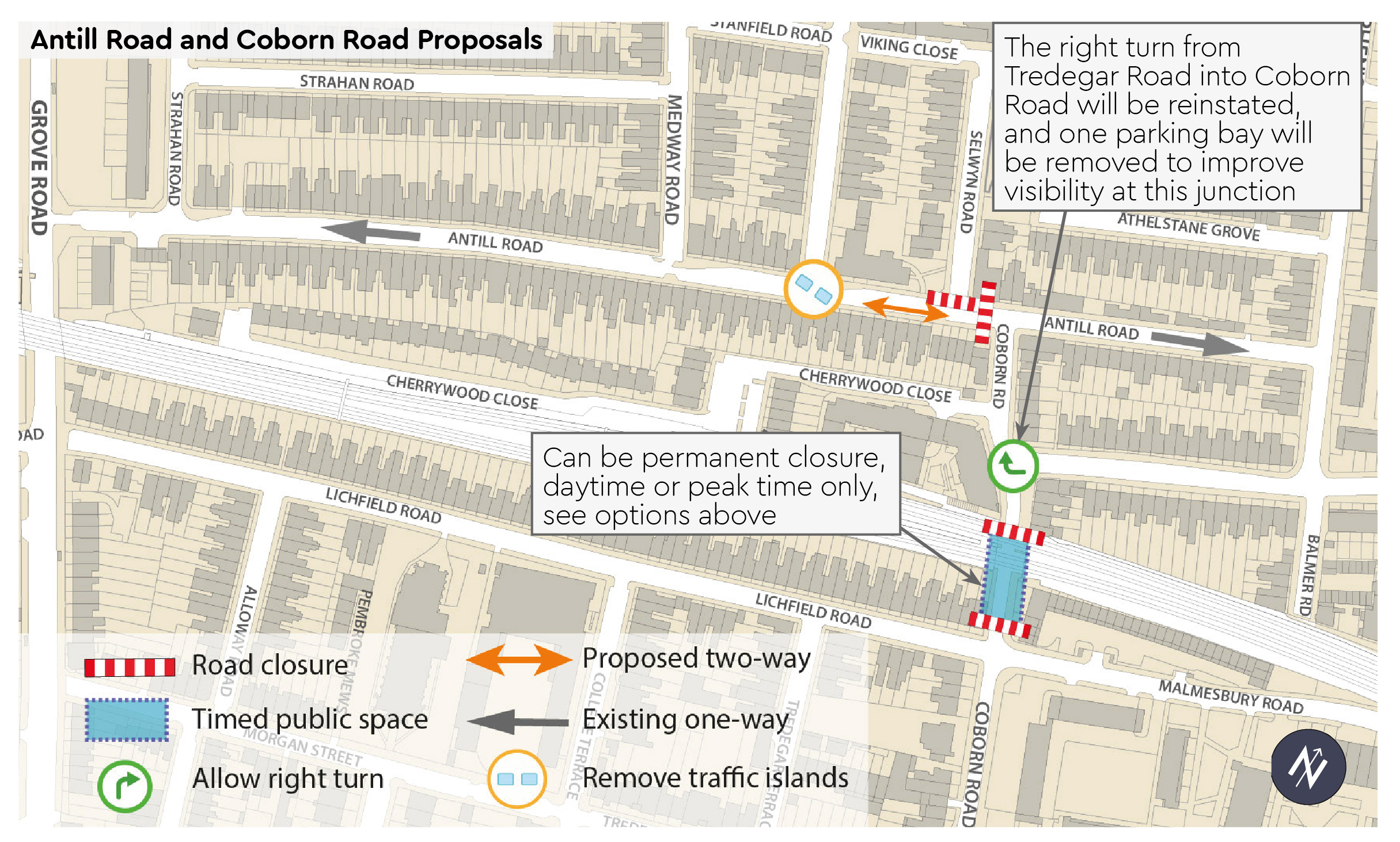 Antill Road and Coborn Road Proposals - Permanent, day-time or peak time closure options on Coborn Road underpass - Right turn from Tredegar Road into Coborn Road