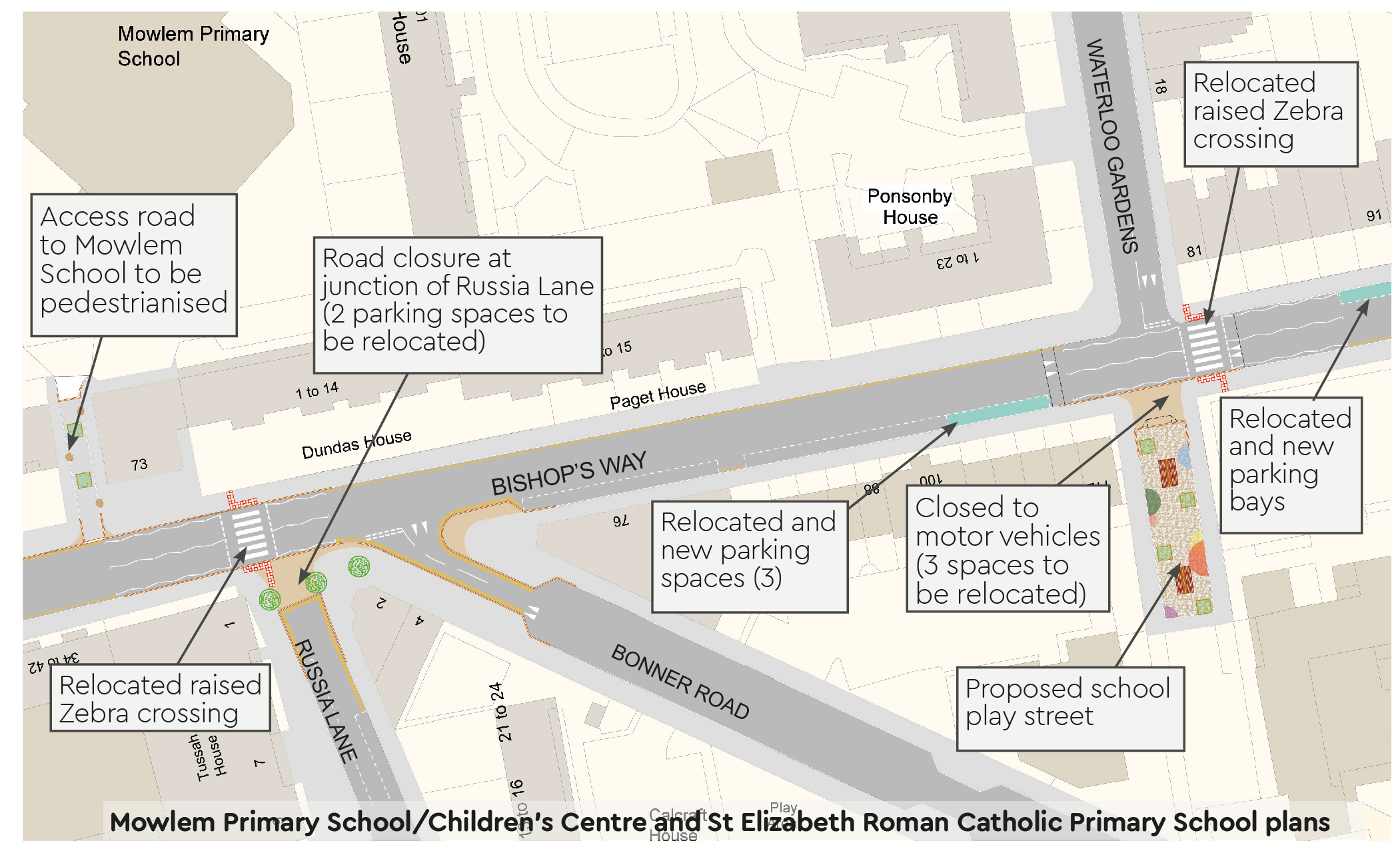 Mowlem Primary School/Children's Centre and St Elizabeth Roman Catholic Primary School Plan: access road to Mowlem School to be pedestrianised, road closure on Russia Lane at Bishops Way junction, Waterloo Gardens south of Bishops Way proposed play street and closed to vehicles and relocated parking bays on Bishops Way.