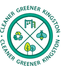 Cleaner Green Kingston logo. Round green circle divided into 4. In each part there is an image representing cleaner and green. They include recycling logo, an image representing a play area, an image of a bee and an image of two trees
