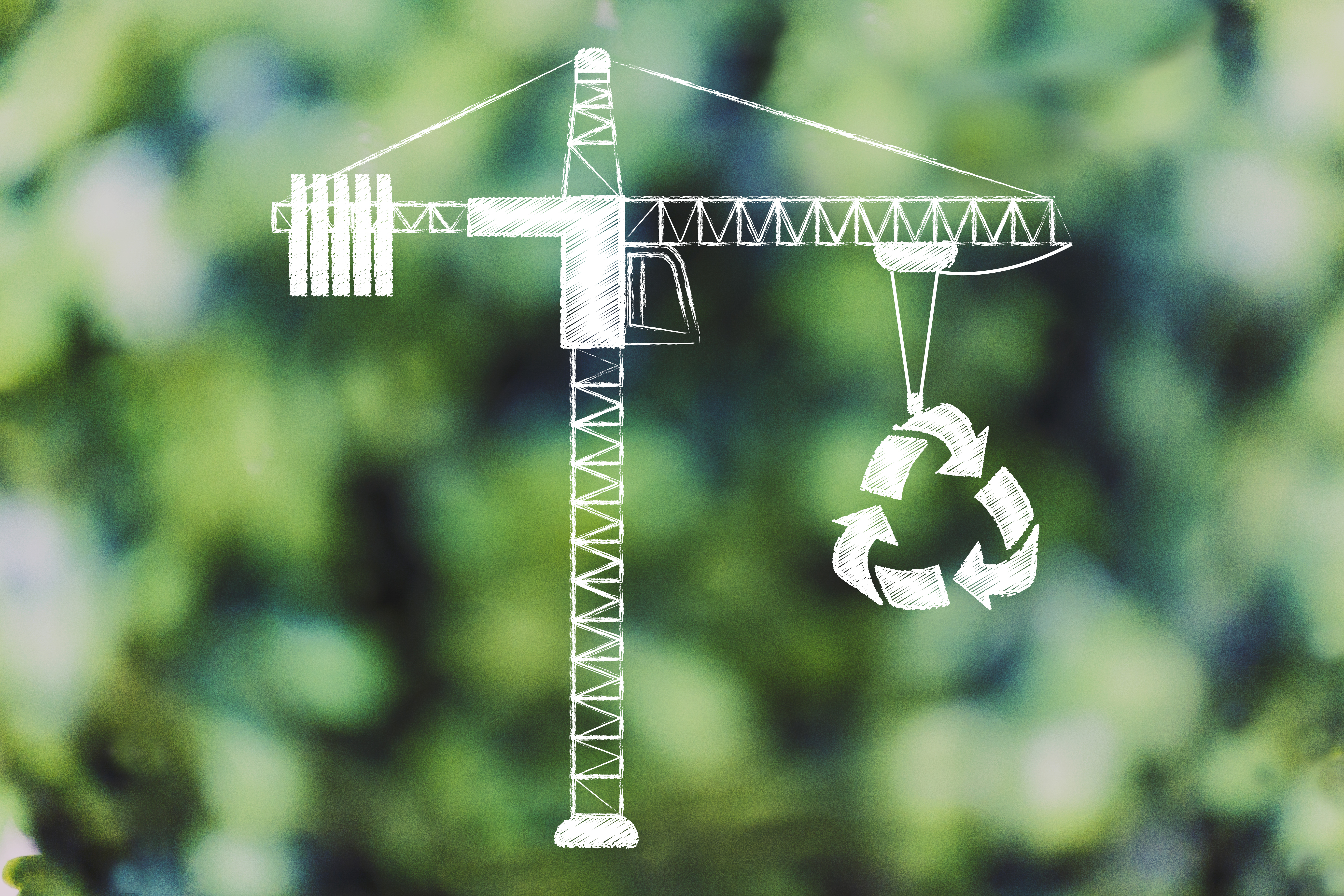 Drawing of a crane lifting a recycling symbol against a blurred green foliage background.
