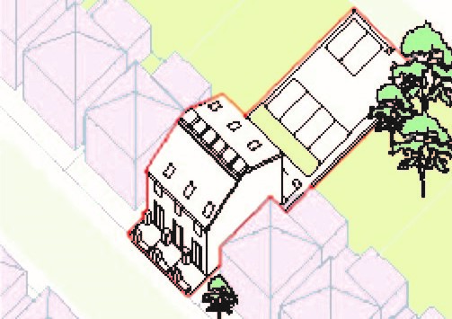Illustration showing potential redevelopment through a new housing cluster within typical mid-terrace housing typology