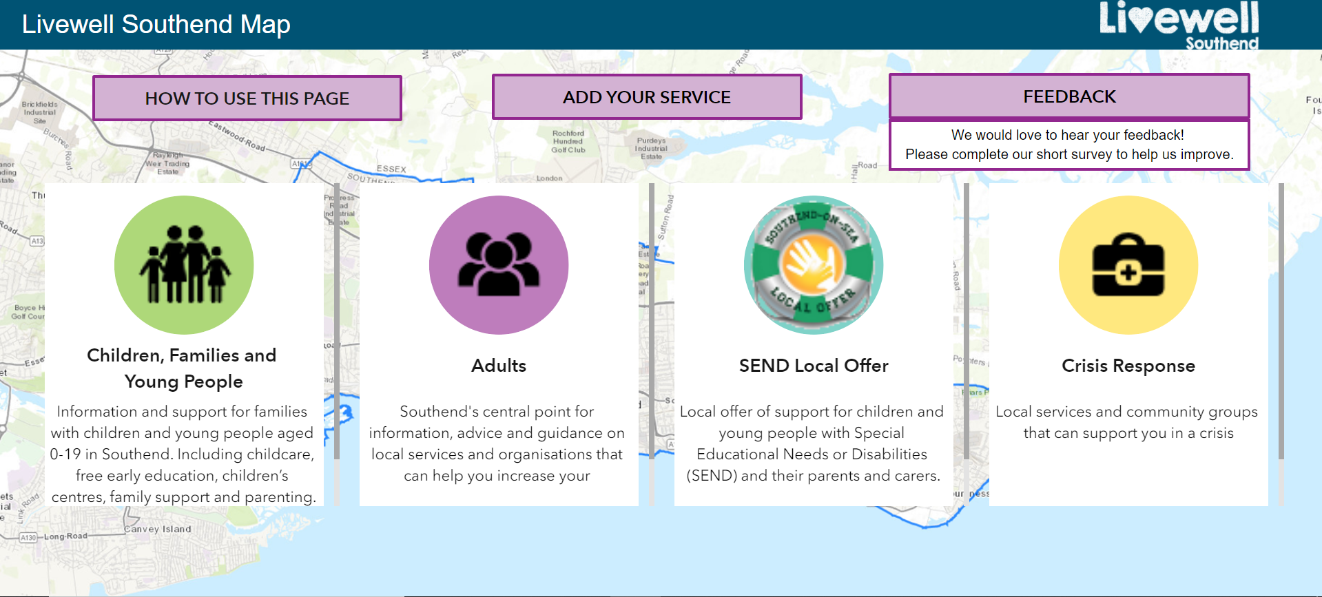picture of the Livewell interactive map and the main categories