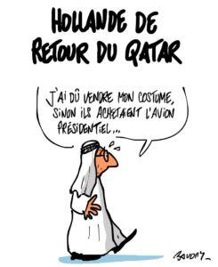 Caricatura del dibuixant francès Bavony, publicada arran de la visita d'Hollande a Qatar el 2013