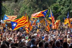 Estelades independentistes en una manifestació de l'Onze de Setembre / JORDI BORRÀS