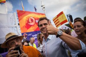 Albert Rivera, líder de ciutadans en una concentració espanyolista / JORDI BORRÀS