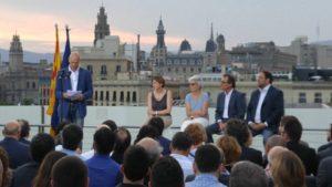 Romeva, Forcadell i Casals, els tres primers de la llista Junts pel Sí, tots tres independents / DANIEL CO